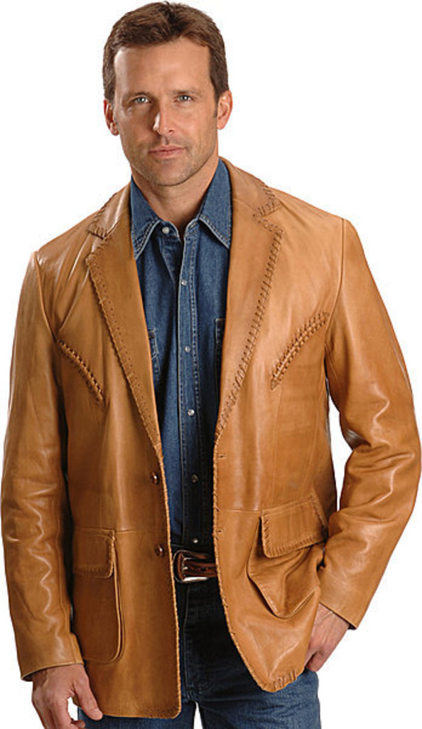 Scully Men's Whipstitched Leather Blazer Lambskin - Ranch Tan Western Blazer