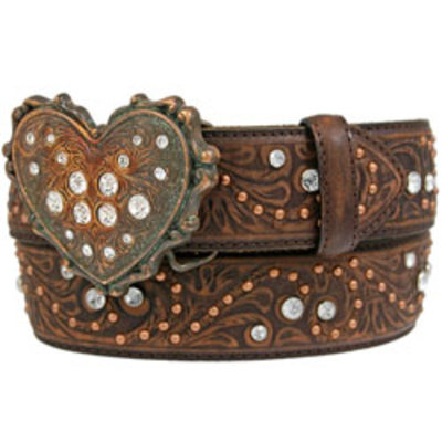 Justin Ladies Belt Chocolate Vintage Heart