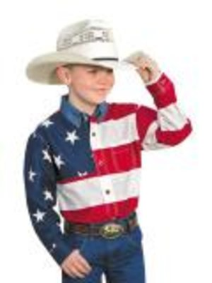 Roper Long Sleeved American Flag Shirt Kids