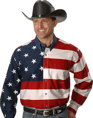 Roper American Flag Long Sleeved 301-185-101RE