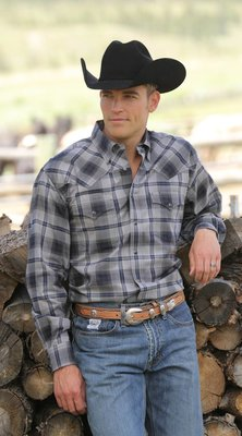 Miller Ranch Wear Gray Plaid Snap Shirt