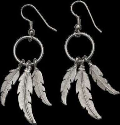 Bar-V Ranch  Earrings -Cast Silver Feathers