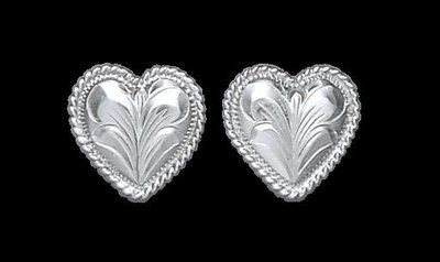 Bar-V Ranch  Earrings -Engraved Silver Hearts