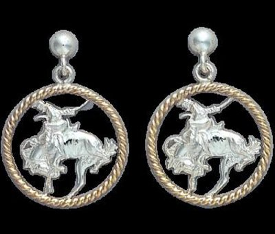 Bar-V Ranch  Earrings Silver Broncs and Jewelers Bronze Rope Hoops