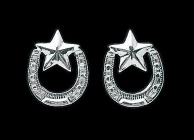 Bar-V Ranch Earrings -Silver Horseshoe and Stars