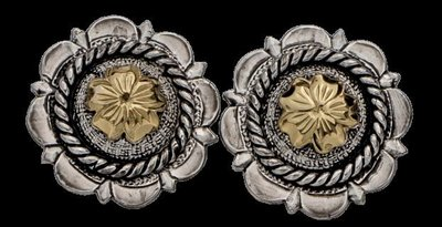 Bar-V Ranch  Earrings -Silver Pico Concho, Jewelers Bronze Flower