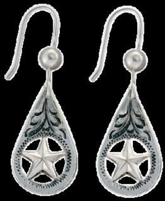 Bar-V Ranch  Earrings -Hand Engraved Silver Teardrop and Star