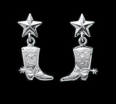Bar-V Ranch  Earrings -Silver Boots