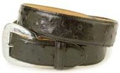 Mens Tony Lama Black Ostrich print Belt