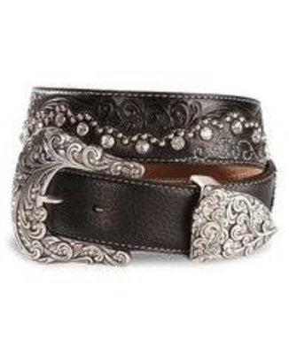 Justin Ladies Black Leather Belt Kaitlyn