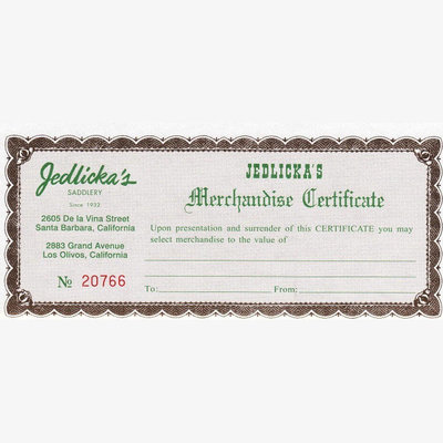 Jedlickas Gift Certificates