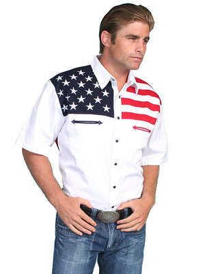 Scully Flag Shirt Short Sleeve P-756SS