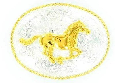 Nocona Western Belt Buckle Oval Horse Silver Gold 3757252